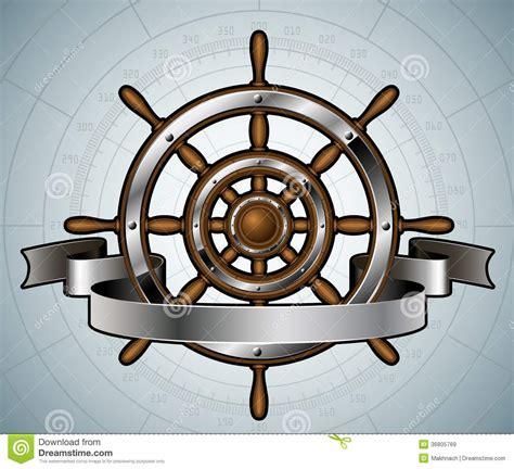 schiffslenkrad mit fahne lizenzfreie stockbilder bild