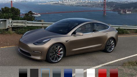 tesla colors all six model 3 colors in one phone sized picture to help
