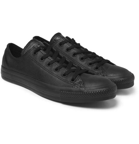 chuck leather sneakers lyst converse chuck leather sneakers in black for