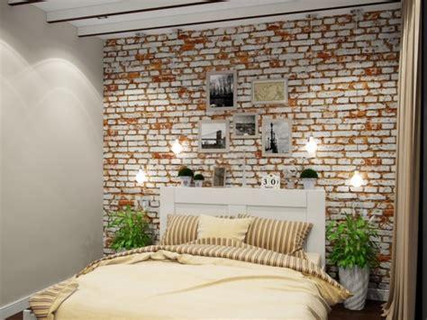 Supérieur Papier Peint Chambre Garcon #1: Papier-peint-brique-chambre-coucher-brique-blanc-marron-literie-beige-rayures.jpg