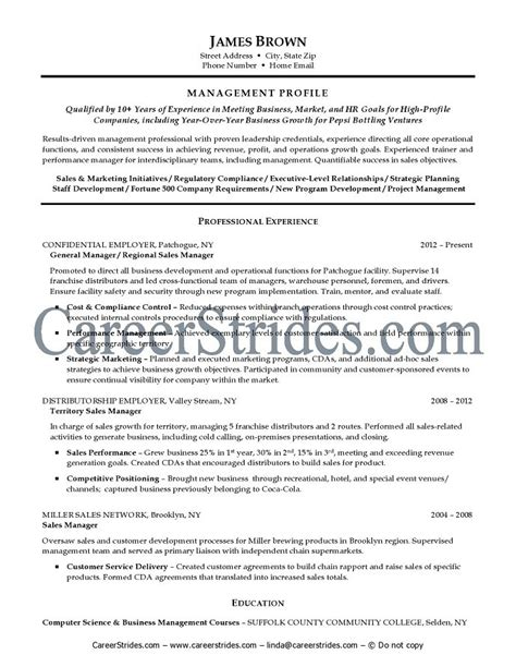 general manager resume template sle resume general manager sle resume