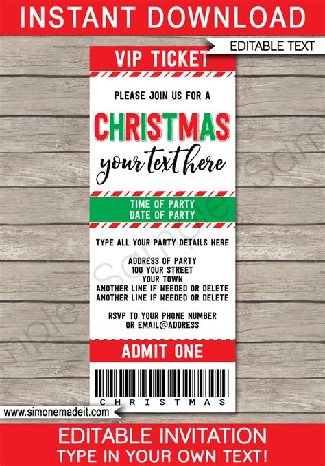 christmas party ticket template ticket invitations template ticket invites