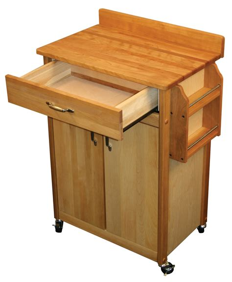 kitchen island cart breakfast butcher block dining spice catskill craftsmen butcher block cart with flat doors and