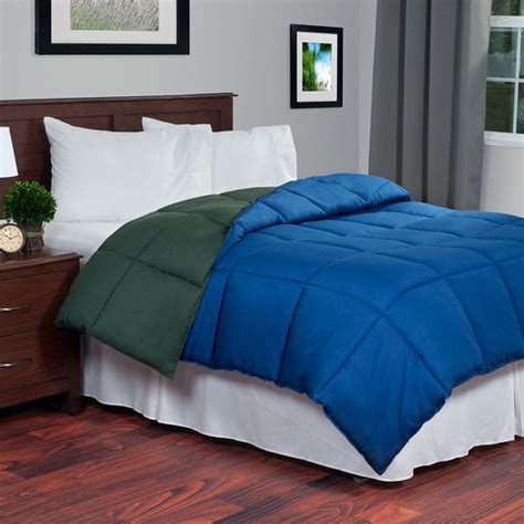 green comforter queen lavish home reversible green navy down alternative queen