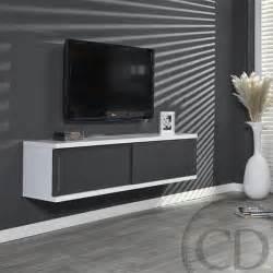 meuble tv suspendu laqu 233 gris et blanc design achat