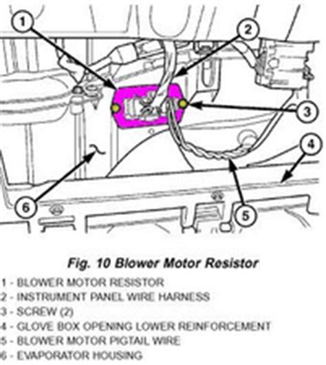 2009 mitsubishi lancer blower motor resistor location solved why does my air conditioner heater fan only work on high 2001 2007 dodge caravan ifixit
