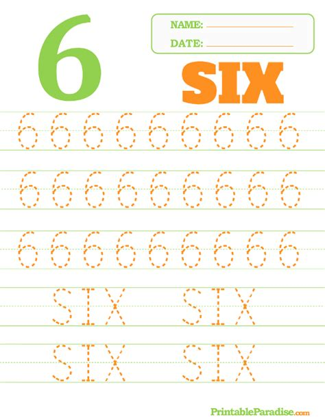 printable tracing number 6 printable number 6 tracing worksheet
