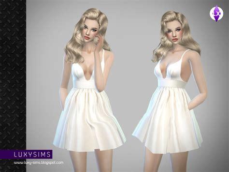 Luxy Ruffle Dress luxysims3 s white dress