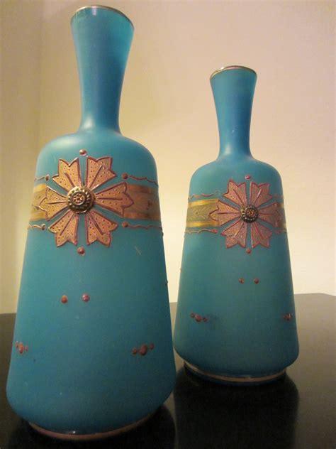 blue glass vases gold ornamentation for sale