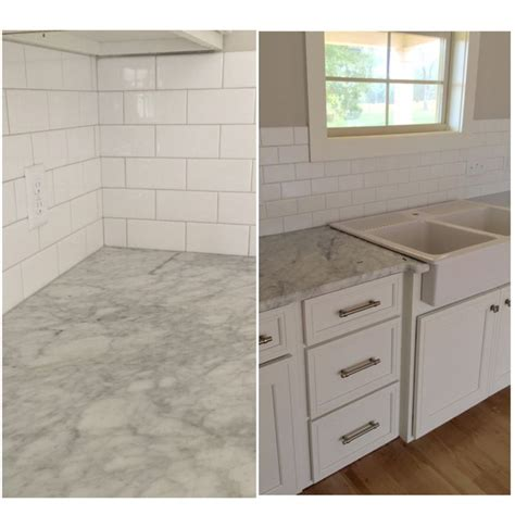 ikea subway tile subway tile with white carrara countertops and ikea domsjo