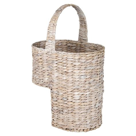 buy white wash water hyacinth stair basket from the basket