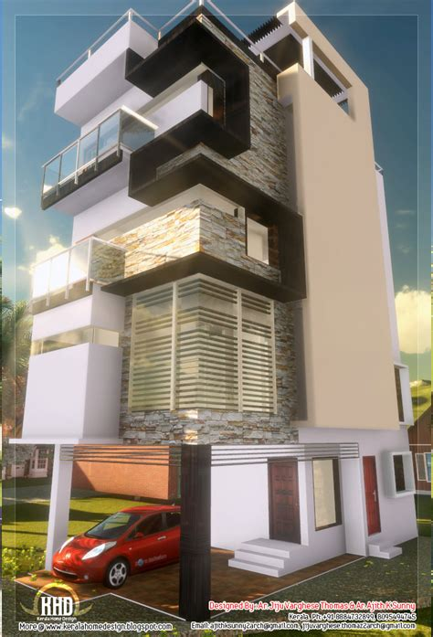 floor contemporary narrow home design kerala home