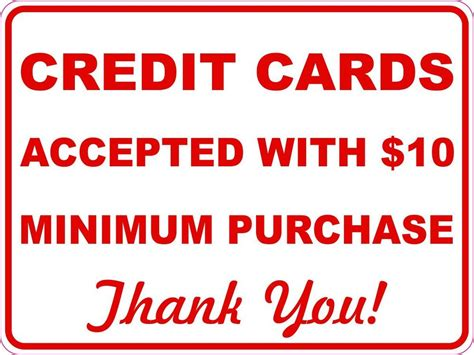 Mastercard Gift Card No Purchase Fee - credit cards accepted with 10 minimum purchase sign sticker inform of policy ebay