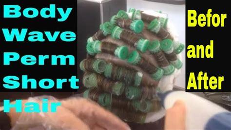 body wave perm short hair    techniek