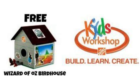 home depot kids workshops free weekly workshops home home depot kid s workshop build wizard of oz birdhouse 9