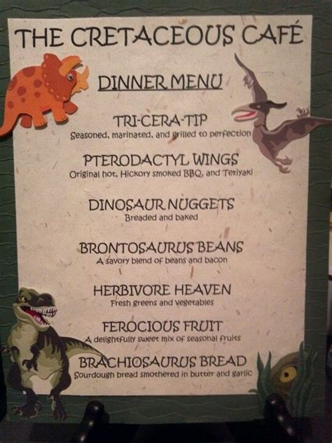 dinosaur party dinner menu for hunter s party for my