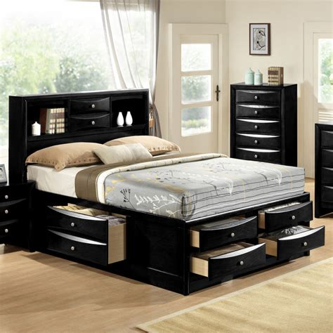King Storage Bed With Bookcase Headboard black emily bookcase headboard king captains storage bed w 6 drawers ebay