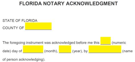 Florida Notary Format Design Templates Notary Template Florida