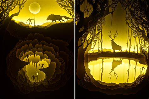magical paper cut light boxes by hari deepti