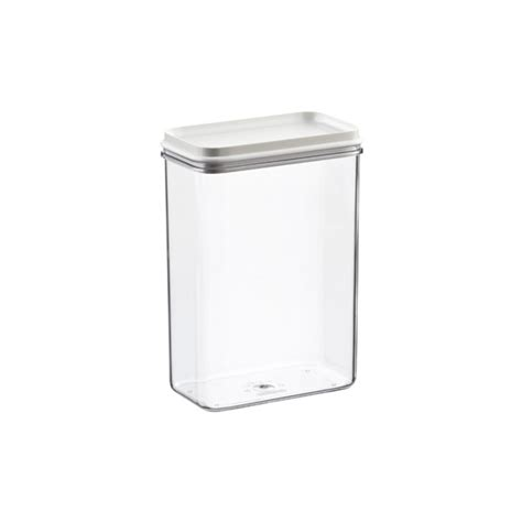 Narrow Stackable Canisters With White Lids The Container | narrow stackable canisters with white lids the container