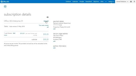 Office 365 Billing Office 365 View My Bill Invoice