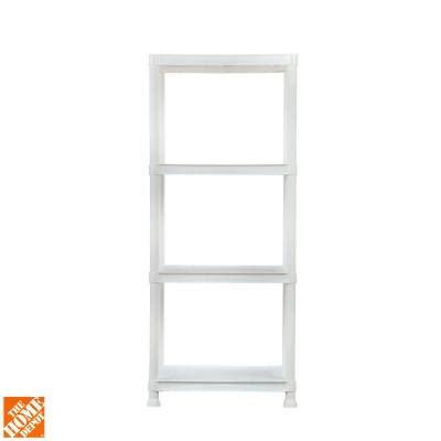 Hdx 4 Shelf 14 In D X 22 In W X 52 In H White Plastic Home Depot Plastic Shelves