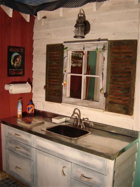 old man bathroom man cave fishing bathroom in basement floor tile that looks like water raised dock