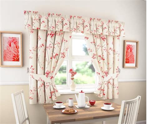 Floral Kitchen Curtains Lydia Thick Plain Floral Kitchen Curtains Or Pelmet Many Sizes Available Ebay