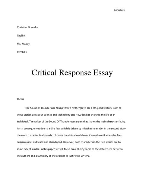 Critical Review Sle Essay by Critical Response Essay Sle 28 Images Critical Response Essay Format 1 Reader Outline