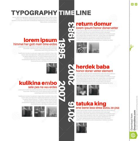 typography timeline vector infographic typography timeline report template preparation and planning of tactical