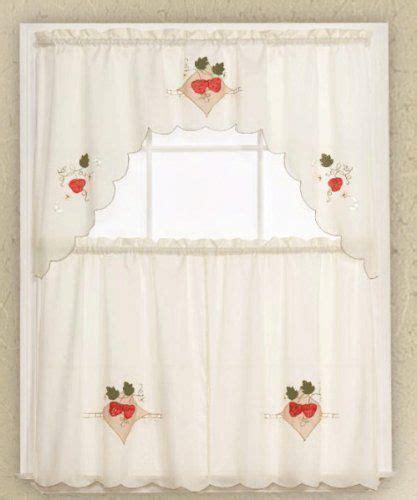 Beige Swag Curtains 3piece Beige With Strawberry Kitchen Curtain Cafe Tier