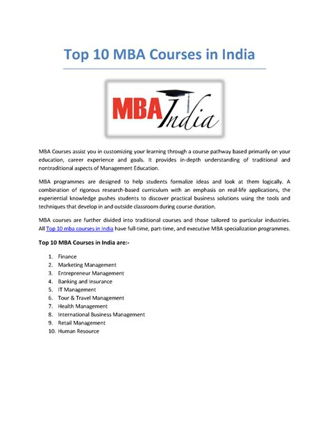 Top 10 Mba Courses top 10 mba courses in india authorstream