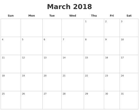 printable calendar sheets 2018 march 2018 blank printable calendar yun56 co