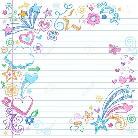 Lukisan Doodle A4 Colour Tidak Background Frame background notebook search backgrounds