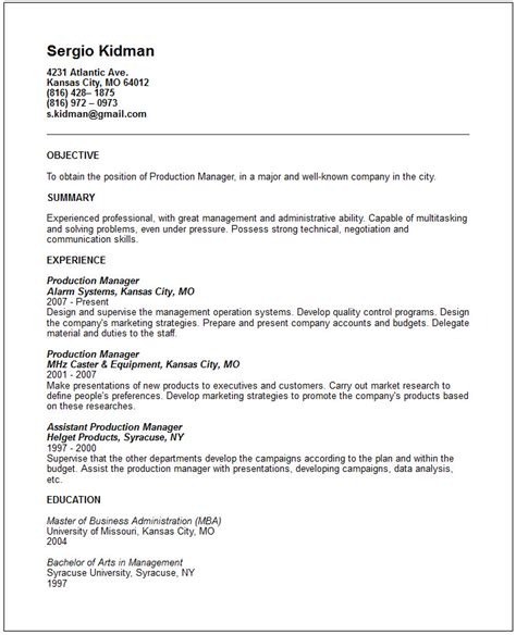 manufacturing resumes samples manufacturing resume examples
