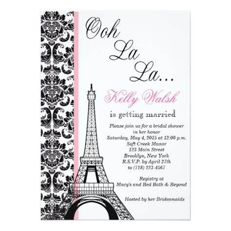 eiffel tower damask paris bridal shower invitation zazzle