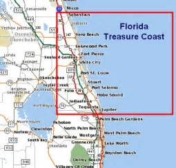 map of east coast of florida cities florida treasure coast map