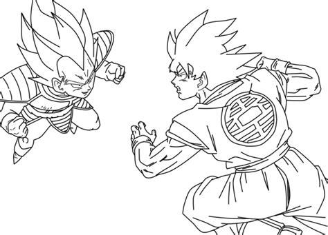 imagenes niños peleando para colorear dibujo de goku kakarotto peleando contra vegeta para