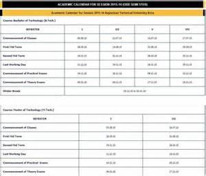 Calendar 2018 Rajasthan Rtu Academic Calendar 16 2017 2018 Studychacha