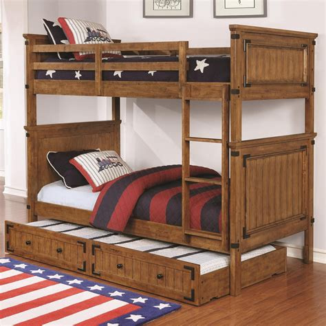 wooden bunk bed with trundle coaster coronado bunk bed 460116 casual wooden