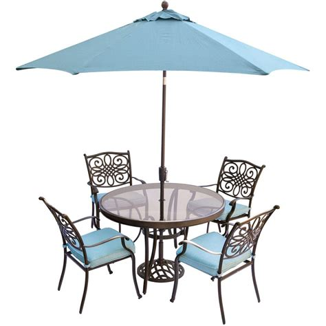 Patio Table And Chairs With Umbrella Hanover Traditions 5 Aluminum Outdoor Dining Set With Glass Top Table Umbrella And