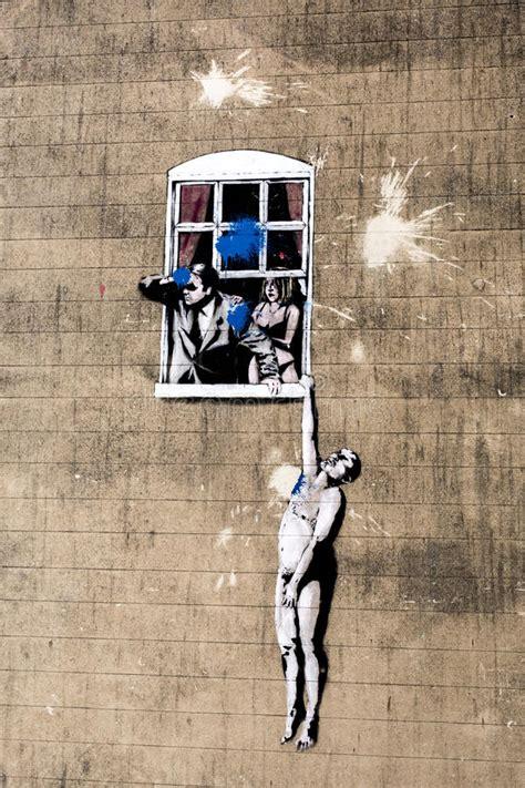 banksy editorial photo image  stencil window park