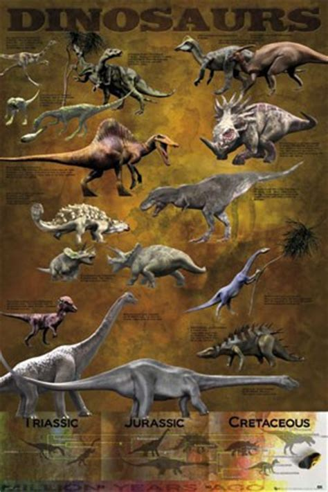 Poster A3 The Dinosaurs Ver 3 dinosaurs from the triassic jurassic and cretaceo educational dinosaurs poster buy