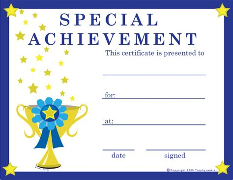 free special achievement certificates certificate free
