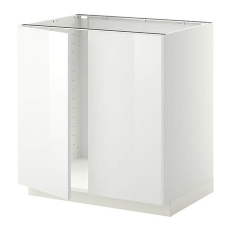 Ikea Kitchen Base Cabinets Metod Base Cabinet For Sink 2 Doors White Ringhult White 80x60 Cm Ikea