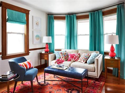 curtains for wood paneled room colorful and cozy living and dining room makeover hgtv