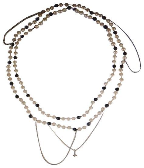 louis vuitton pearl  black silver  gold chain