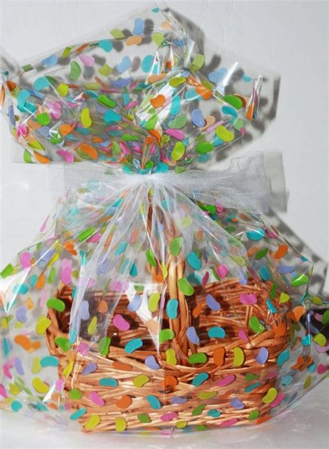 how to wrap gift baskets with cellophane easter jelly beans plastic cellophane basket gift wrap bag