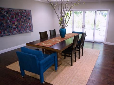 Eclectic Blue Dining Room Eclectic Dining Room With Blue Upholstered Arm Chairs Hgtv