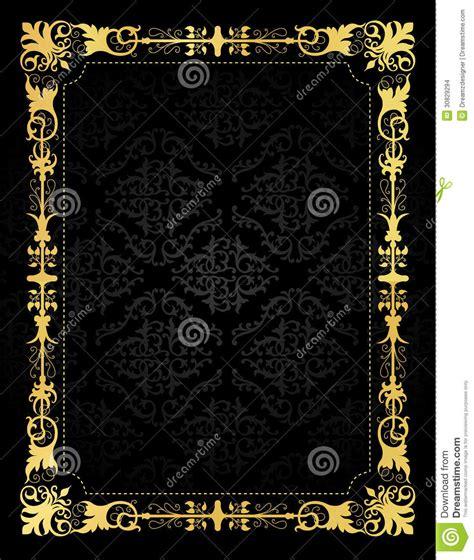 black invitation card templates invitation card ornamental frame and damask backgr stock
